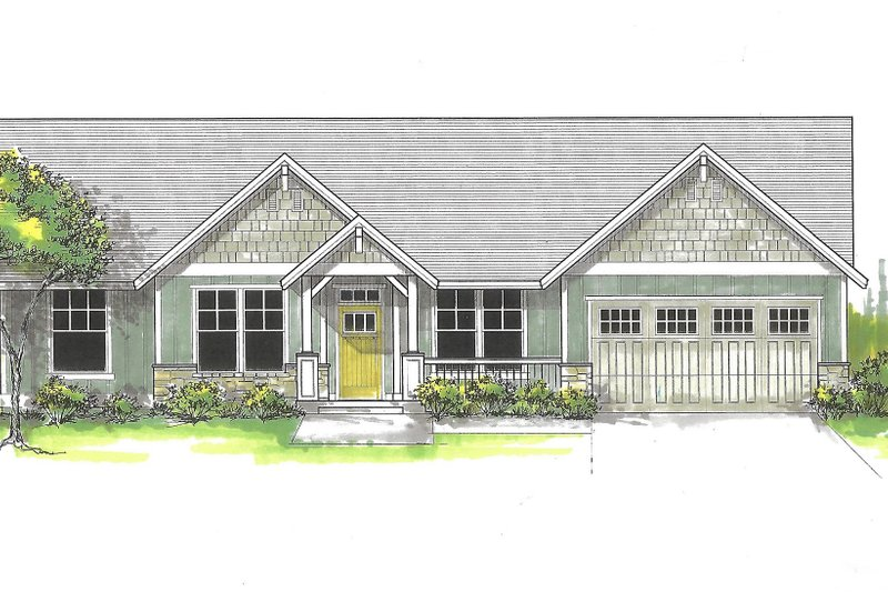 Architectural House Design - Craftsman Exterior - Front Elevation Plan #53-591
