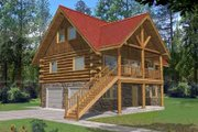 Log Style House Plan - 3 Beds 3 Baths 1485 Sq/Ft Plan #117-485 Exterior - Front Elevation