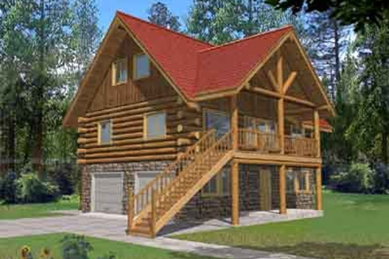 Log Style House Plan - 3 Beds 3 Baths 1485 Sq/Ft Plan #117-485