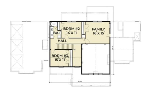 Southern Floor Plan - Upper Floor Plan Plan #1070-12