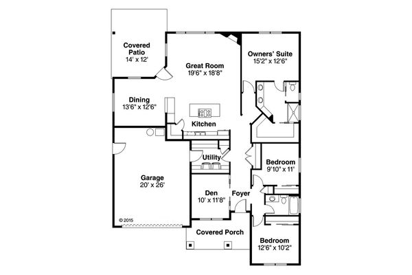 Traditional Floor Plan - Main Floor Plan #124-1017