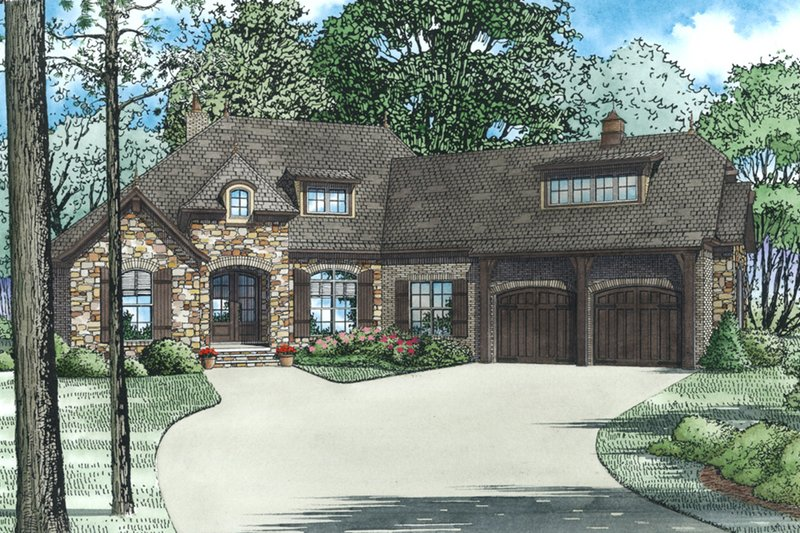 Architectural House Design - European, Front Elevation, 4 Bed Rooms