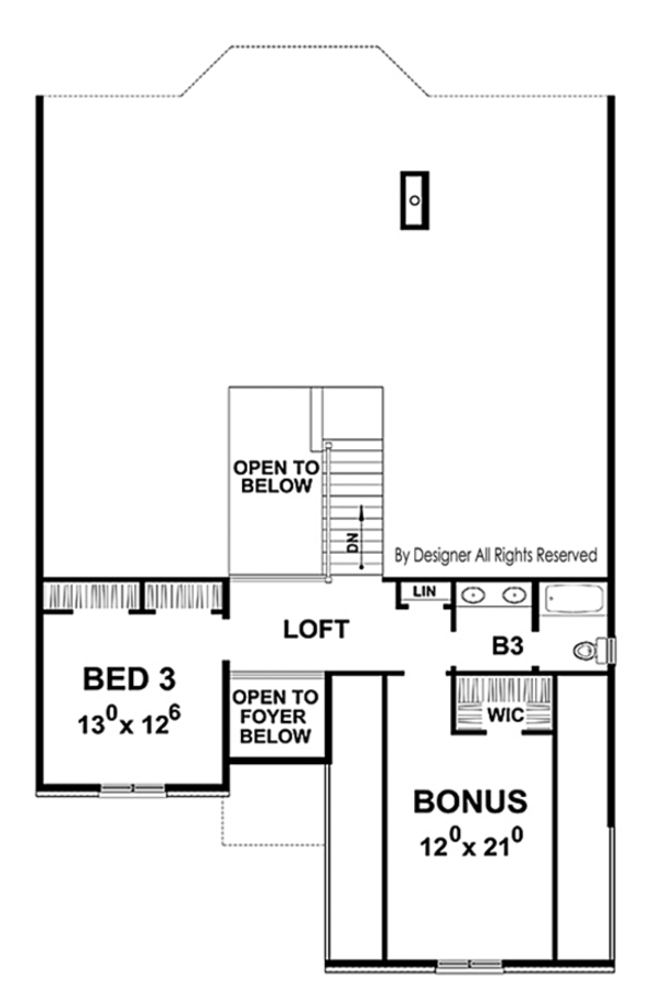 House Plan Design - Country Floor Plan - Upper Floor Plan #20-2253