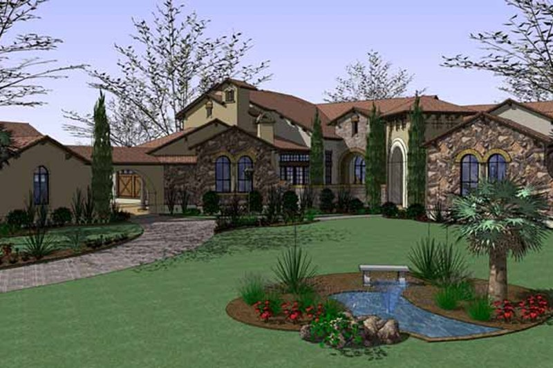 Mediterranean Exterior - Front Elevation Plan #120-214