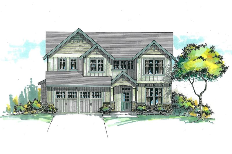 Craftsman Style House Plan - 4 Beds 2.5 Baths 2202 Sq/Ft Plan #53-470 Exterior - Front Elevation