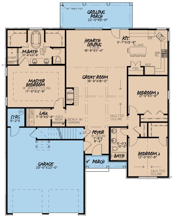 House Plan Design - Ranch Floor Plan - Main Floor Plan #923-92