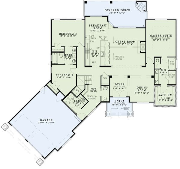 Dream House Plan - Craftsman Floor Plan - Main Floor Plan #17-2569