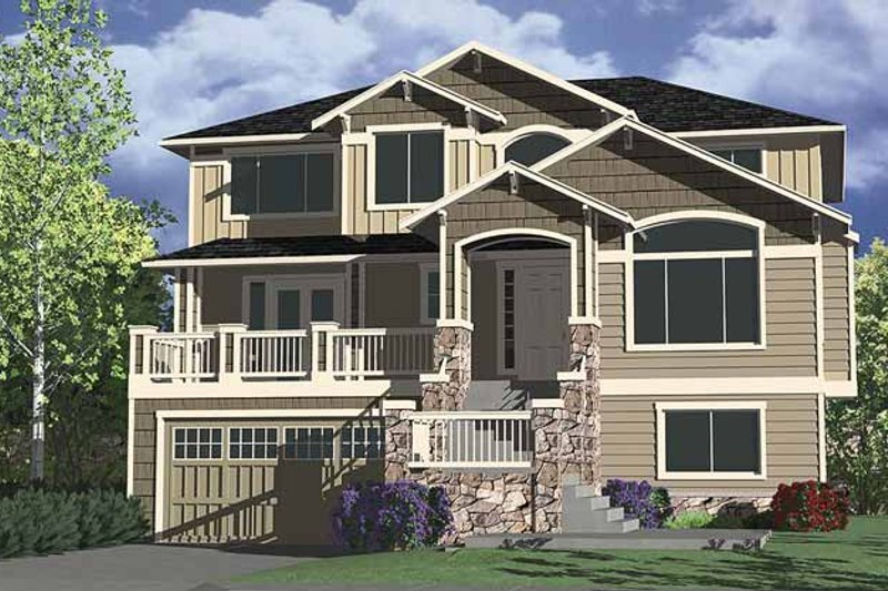 Craftsman Style House Plan - 4 Beds 3.5 Baths 3457 Sq/Ft Plan #951-9 Exterior - Front Elevation