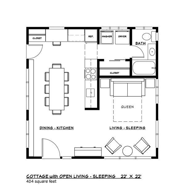 Craftsman Style House Plan - 1 Beds 1 Baths 484 Sq/Ft Plan #917-35 Floor Plan - Other Floor Plan