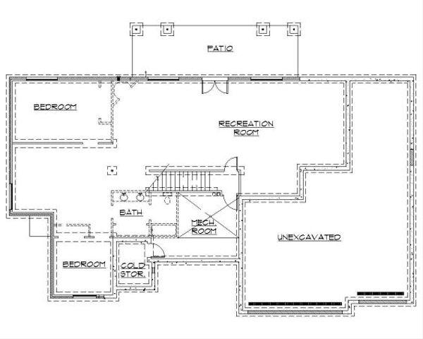 Traditional Floor Plan - Lower Floor Plan Plan #5-124