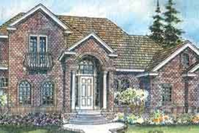 European Style House Plan - 3 Beds 3.5 Baths 3984 Sq/Ft Plan #124-500 Exterior - Front Elevation