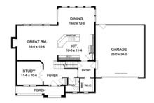 Colonial Floor Plan - Main Floor Plan Plan #1010-92