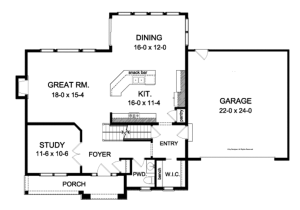 Colonial Floor Plan - Main Floor Plan Plan #1010-92