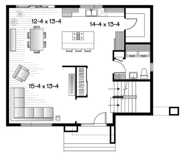Contemporary Floor Plan - Main Floor Plan Plan #23-2586