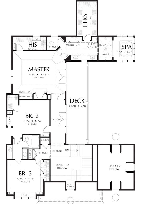 Traditional Floor Plan - Upper Floor Plan Plan #48-244