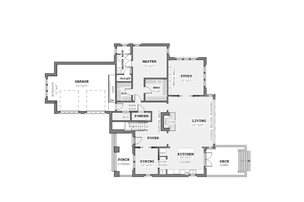 Modern Floor Plan - Main Floor Plan Plan #926-6
