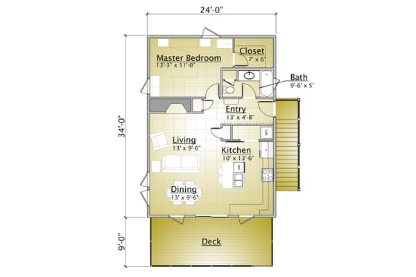 Cabin Style House Plan - 1 Beds 2 Baths 863 Sq/Ft Plan #910-3 Floor Plan - Main Floor Plan