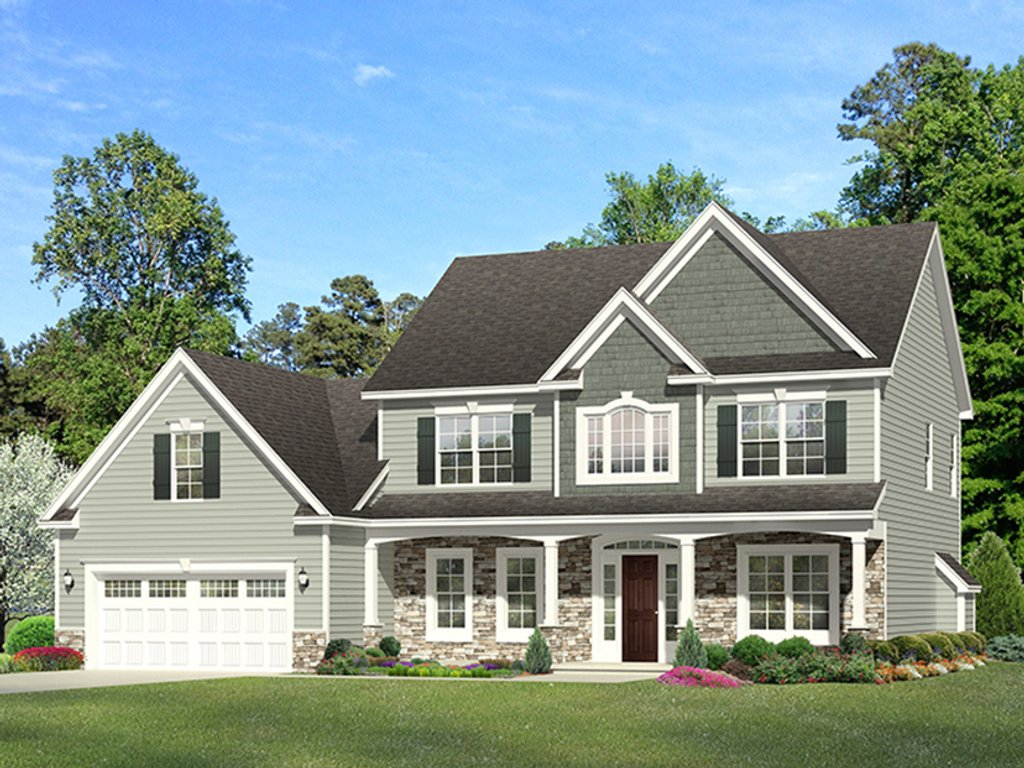 Colonial Style House Plan 3 Beds 2 5 Baths 2329 Sq Ft