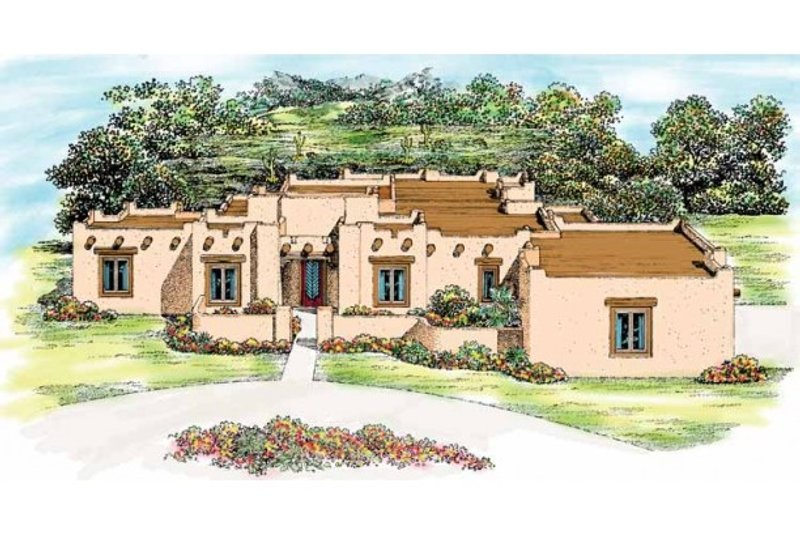 Adobe / Southwestern Exterior - Front Elevation Plan #72-339