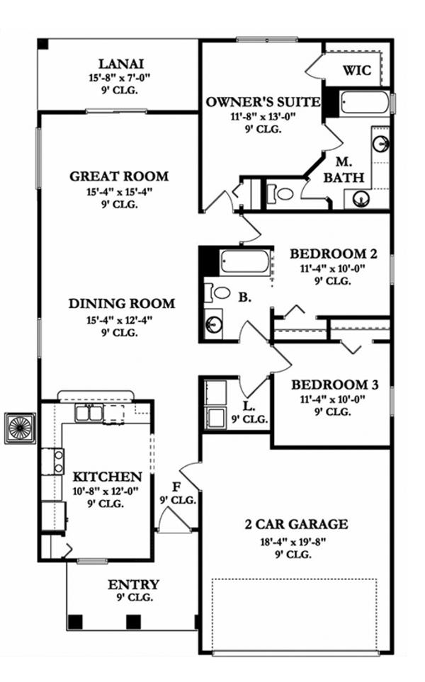 Mediterranean Floor Plan - Main Floor Plan Plan #1058-90