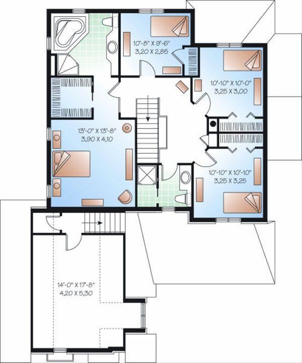 Victorian Floor Plan - Upper Floor Plan Plan #23-842