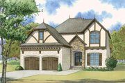 European Style House Plan - 4 Beds 3 Baths 3012 Sq/Ft Plan #923-57 Exterior - Front Elevation