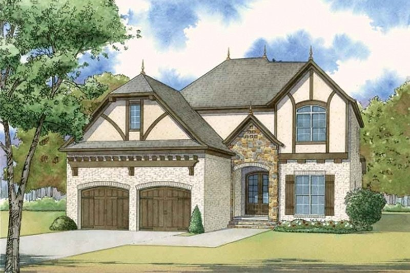 European Exterior - Front Elevation Plan #923-57