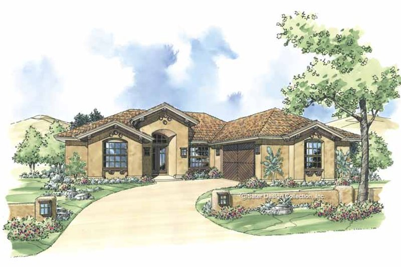 Mediterranean Style House Plan - 3 Beds 2 Baths 1746 Sq/Ft Plan #930-299 Exterior - Front Elevation