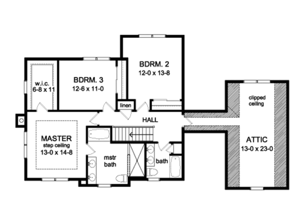 Traditional Floor Plan - Upper Floor Plan #1010-80