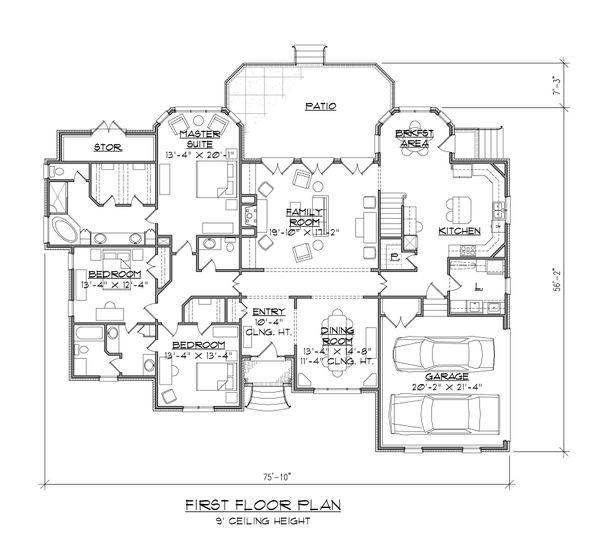 House Design - European Floor Plan - Main Floor Plan #1054-54