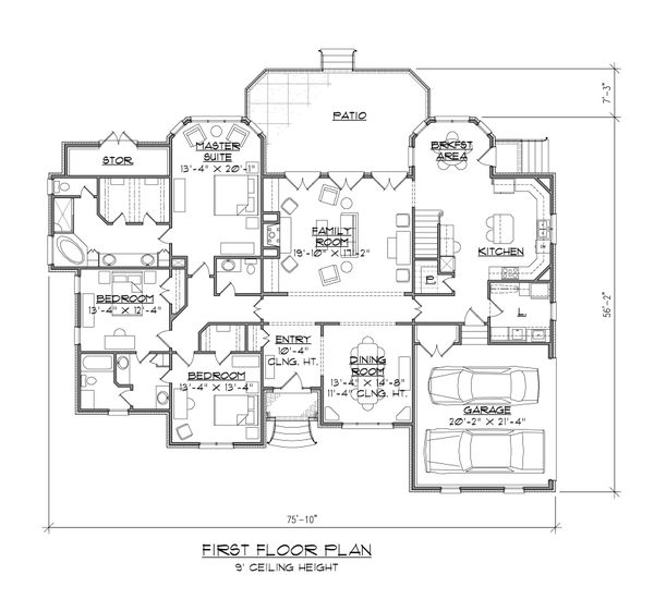 Dream House Plan - European Floor Plan - Main Floor Plan #1054-54