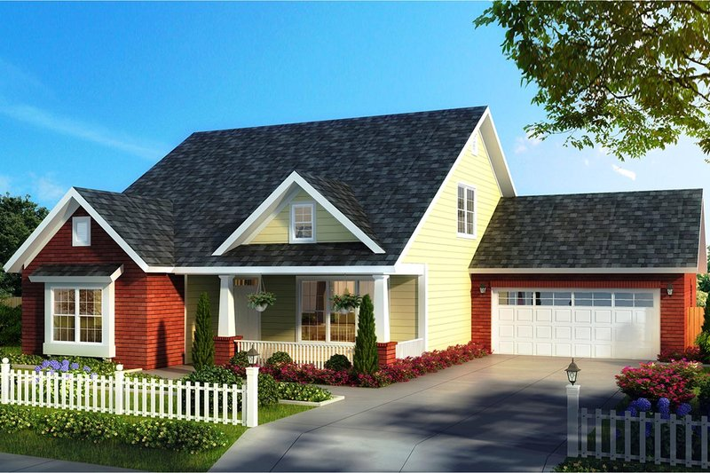 Cottage Exterior - Front Elevation Plan #513-2177