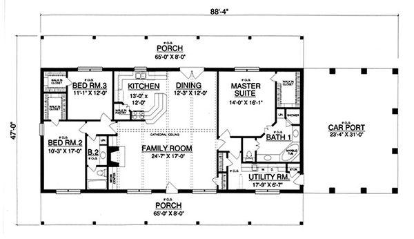 Dream House Plan - Ranch Floor Plan - Main Floor Plan #40-379
