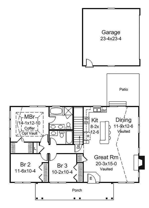 Ranch Floor Plan - Main Floor Plan Plan #57-638