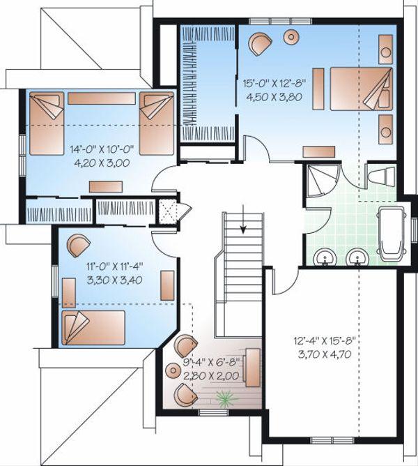 Farmhouse Floor Plan - Upper Floor Plan Plan #23-720