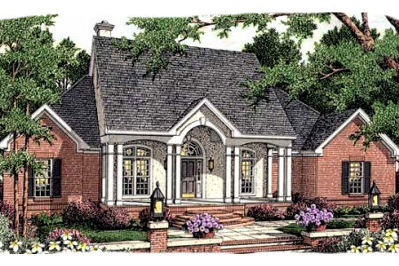 Southern Exterior - Front Elevation Plan #406-296