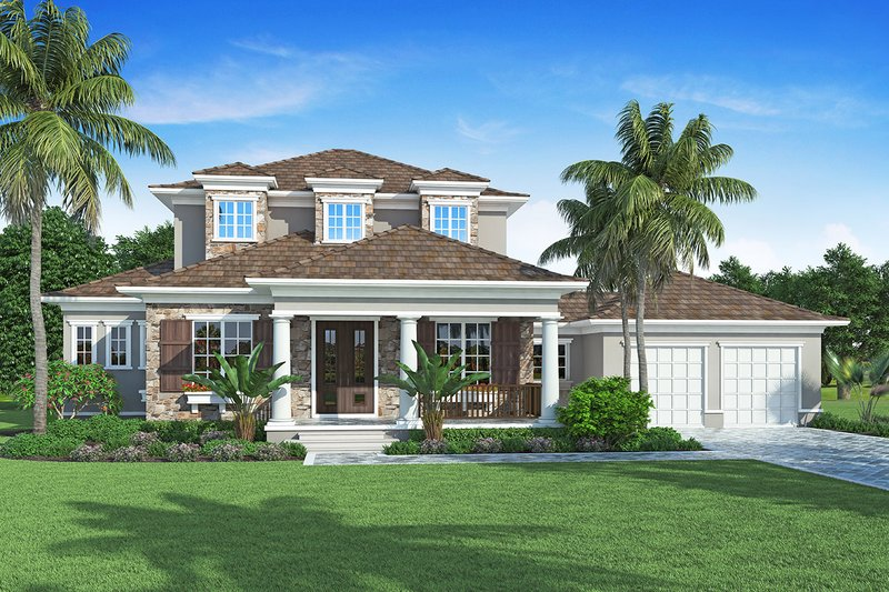 Traditional Style House Plan - 5 Beds 4 Baths 3052 Sq/Ft Plan #938-85 Exterior - Front Elevation