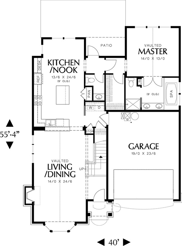 Architectural House Design - Main Level Floor plan - 2200 square foot Cottage plan