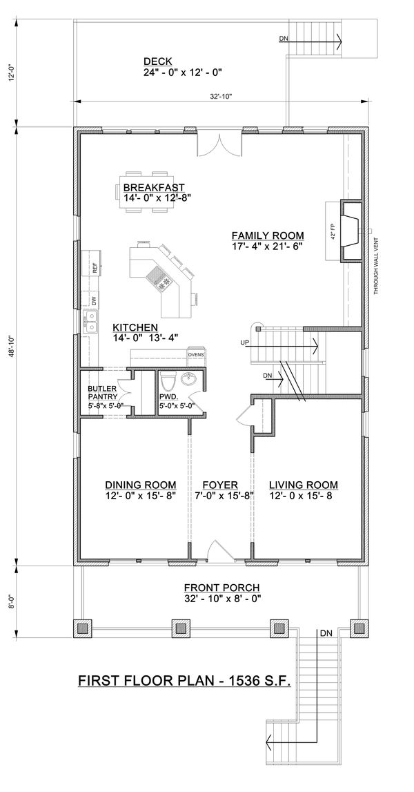 Craftsman Floor Plan - Main Floor Plan Plan #30-341