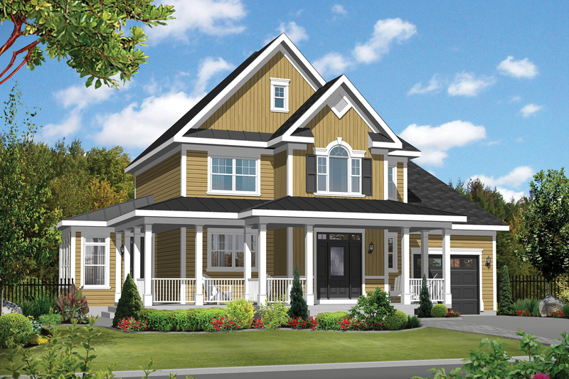 Country Style House Plan - 3 Beds 1 Baths 1953 Sq/Ft Plan #25-4375 Exterior - Front Elevation