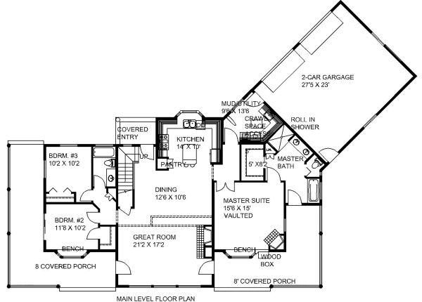 Craftsman Floor Plan - Main Floor Plan Plan #117-880