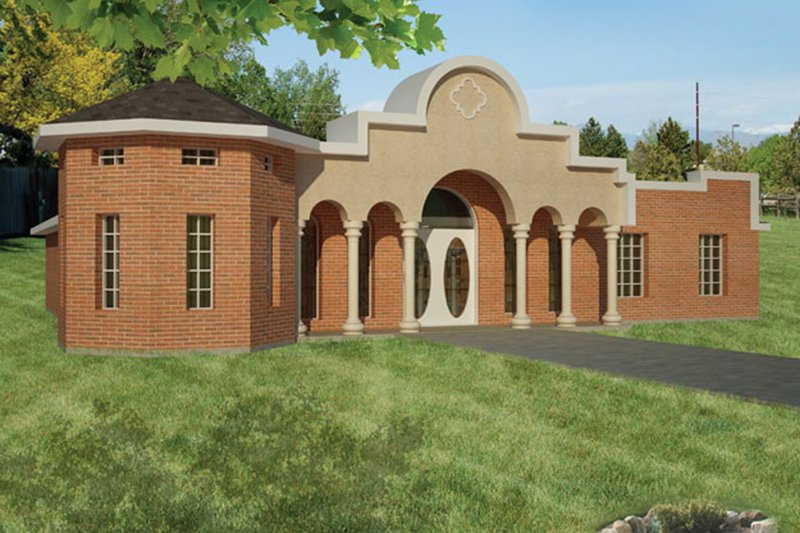 Architectural House Design - Adobe / Southwestern Exterior - Front Elevation Plan #1061-24