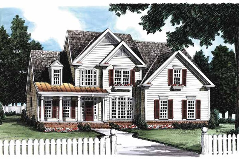 Country Exterior - Front Elevation Plan #927-157