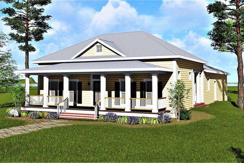 Traditional Style House Plan - 3 Beds 2 Baths 2208 Sq/Ft Plan #44-193 Exterior - Front Elevation