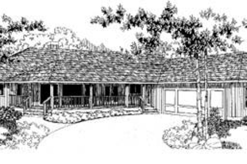 Bungalow Style House Plan - 3 Beds 2 Baths 2068 Sq/Ft Plan #60-335 Exterior - Front Elevation