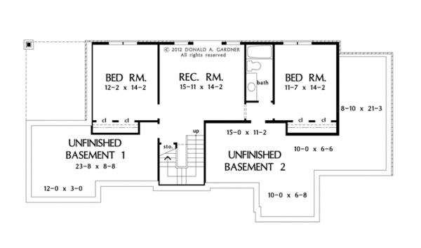 Craftsman Floor Plan - Lower Floor Plan Plan #929-953