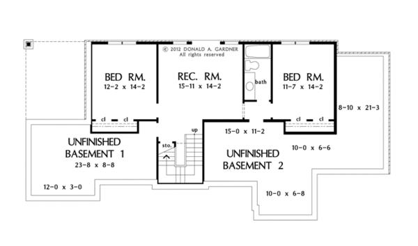 Craftsman Floor Plan - Lower Floor Plan #929-953