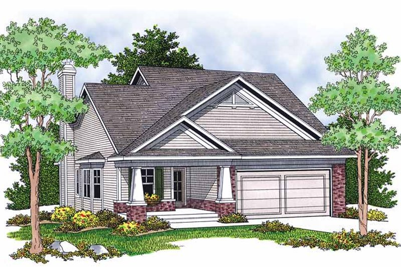Craftsman Exterior - Front Elevation Plan #70-1380