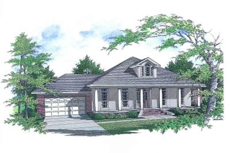 Mediterranean Style House Plan - 3 Beds 2 Baths 1972 Sq/Ft Plan #14-111 Exterior - Front Elevation