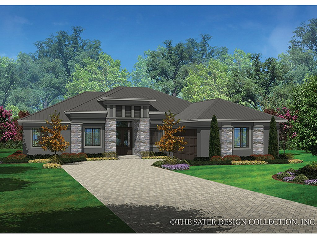 The Sater Design Collection contemporary style house plan - 3 beds 2 baths 2042 sq/ft plan #930-455